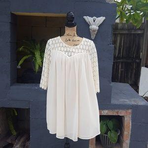 Umgee creme 3/4 sleeve Boho dress